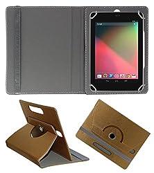 Acm Designer Rotating 360° Leather Flip Case For Asus Google Nexus 7 Tablet Stand Premium Cover Golden