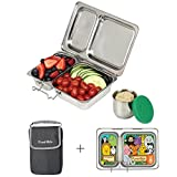 PlanetBox Launch Lunchbox - Basic Black Carry Bag with Wild Animals Magnets