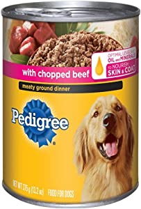 Pedigree Meaty Ground Dinner with Chopped Beef Food for Dogs, 13.2-Ounce Cans (Pack of 24)