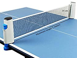 Hi-Quality and Innovative Retractable Table-Tennis Net with Adjustable Length and Push Clamps - Easy, Portable and Fits Most Tables