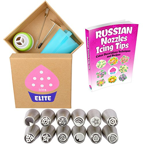 Russian Piping Icing Tips Gift Box + 12 Nozzles + Silicone Pastry Bag + 3 Color Coupler + Cleaning Brush