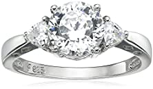 "buy Platinum Plated Sterling Silver ""100 Facets Collection"" Cubic Zirconia Three-Stone Ring (3 Cttw), Size 6"