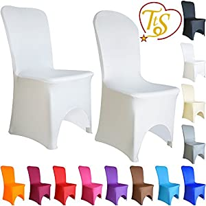 100 Chair Covers Spandex Lycra Cover Wedding Banquet Anniversary Party Decor Arched Front #03 Snow White