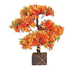 artificial bonsai wild Plant wooden vase arrangement ( 13 inch height)