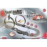 Betoys 740307 - Circuit électrique poursuite rapide avec 2 véhicules - Circuit Fast Rider avec looping - Longueur 5m65 - 154 x 60 cm - 2 voitures RC -