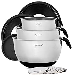 Chef Essential Stainless Steel Non-Slip Mixing Bowls with Lids, Graters, Handles and Pour Spouts, Set of 3, Black