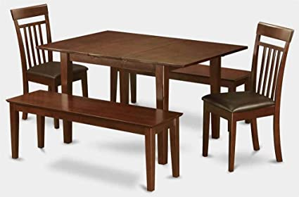 5-Pc Wooden Dining Set with 2 Benches