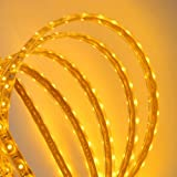Hitlights Waterproof Warm White Flexible Ribbon LED Strip Light, 300 LEDs, 5 Meters (16.4 Feet) Spool, 12VDC Input (Adapter not included)