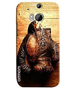 Omnam Boxing Gloves Hanging On Wall Printed Designer Back Cover Case For HTC One M8