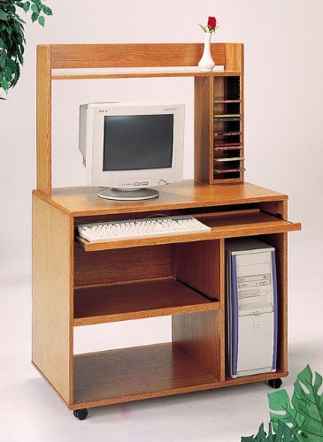 Buy Low Price Comfortable Oak Finish Wood Home Office Computer Desk w/Bookcase & Sliding Keyboard Tray (B0002KNMSA)