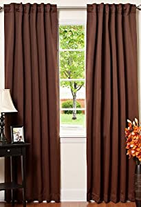 "Solid Thermal Insulated Blackout Curtains, Two panels, Chocolate 52"" x 84"