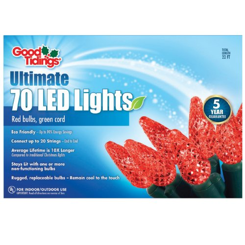 Good Tidings 20710 Light Set Led C6 70 Wire, Red/Green