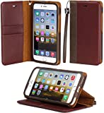 """iPhone 6 Plus case, ACEABOVE [Stand Feature] iPhone 6 Plus 5.5"""" Wallet Case **NEW** [Book Cover Case] [Chestnut] - Premium Genuine Leather Wallet Cover with STAND Flip Cover and [Card Slots] and [Hand Strap] for Apple iPhone 6 Plus 5.5 Inch Late 2014 Model (Chestnut)"""