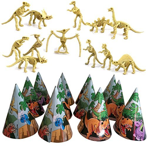 Dinosaur Skeletons And Hats Birthday Party Pack - One Set Of 12 Dinosaur Bones Toy Figures And One Pack Of 12 Colorful Dino Party Hats - Perfect For Boys, Girls, Toddlers and Kids