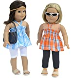 7 Pc. Casual Outfit Set Fits 18 Inch Doll Clothes Includes - 2 Pants, 2 Tops, Headband, and Pocketbook