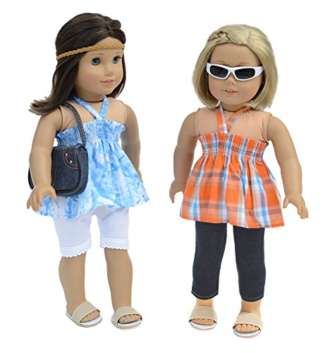 7 Pc. Casual Outfit Set Fits 18 Inch Doll Clothes Includes - 2 Pants, 2 Tops, Headband, and Pocketbook - 1