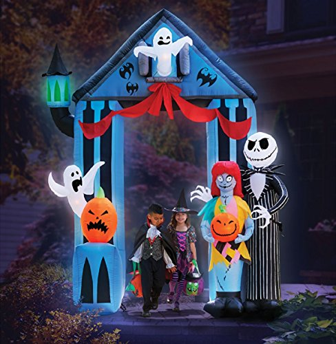 HALLOWEEN 9' NIGHTMARE BEFORE CHRISTMAS ARCHWAY WITH JACK SKELLINGTON & SALLY CLAWS AIRBLOWN INFLATABLE YARD DECOR BY GEMMY