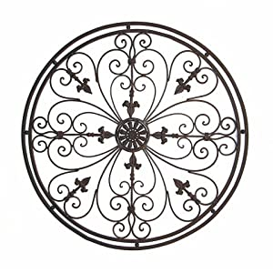"Amazon.com - Tuscan Wrought Iron 36"" Round Fleur De Lis Wall"