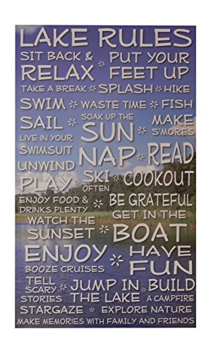 Lake Rules Sign- Clouds - 18 x 30 - Makes a Great Decoration, Wall Art, Gift, Decor in Any Beach House, Cabin, Cottage, Home, or Lodge. Made in USA.