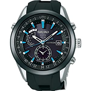 SEIKO ASTRON Reinforced waterproof everyday life × blue dial sapphire glass super clear coating black stainless steel reinforced silicon band radio-corrected GPS satellite solar watch (Japan inport)