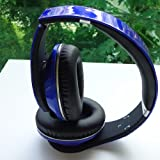 Universal Dual Wireless & Wired Bluetooth Stereo Foldable Headset with Microphone for Mobile Phones, Tablet, Laptop, PC, MP3 Player, CD Player - Comes with FREE drawstring carry bag! (BLUE)