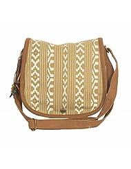 The House Of Tara Ikkat Printed Crossbody Canvas Saddle Bag (Multicolour) - B00V7V794G