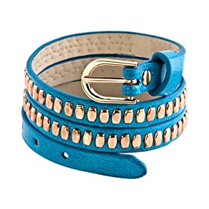 Pugster Stainless Steel Studded Aquamarine Blue Leather Bracelet