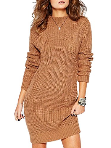 Clothink Women Brown Stretchable Elasticity Plain Cable Knit Slim Sweater Dress