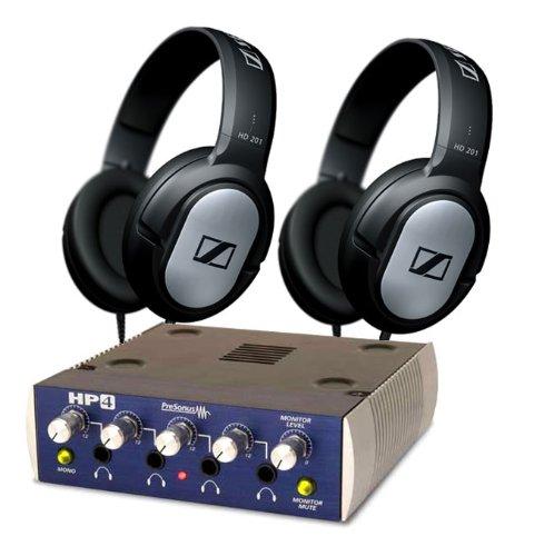 Presonus Hp4 Headphone Amp With 2 Sennheiser Hd201 Headphones Kit