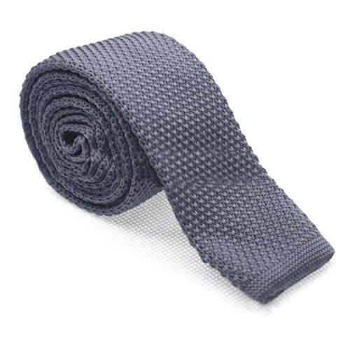 Toptie Men'S Knit Solid Skinny Tie Polyester Square End 2 Inch Necktie Tie Darkgray