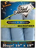 3 PACK Microfiber Mirror & Glass Cleaning Towels : Mirrors, Glass, Windows, Windshields & Crystal. This Lint Free Cloth Also Cleans Computers, Flat Screens, LCD Monitors and Ipads.