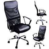 Office swivel desk chair executive high back pc computer office chairs black padded PU Leather tilt function ergonomic armchair racing chairs with net cover