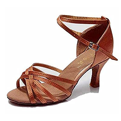 Hot-Selling Brand New Latin Dance Shoes High Heel for Ladies/Girls/Women/Ballroom Tango Shoes 7cm-Knotted Brown,6