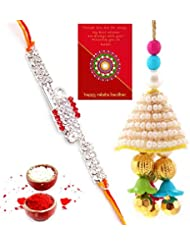 Ethnic Rakhi Designer Colorful Floral Pattern Fashionable And Stylish Bhaiya Bhabhi Mauli Thread And Beads Rakhi... - B01IIMC6KI