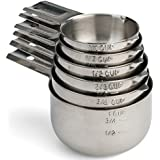 Hudson Stainless Steel Measuring Cups - Metal Dry Measure Cup - Includes 6 Sizes - Stackable For Easy Storage - Home Kitchen Tools - Best Cooking & Baking Utensils