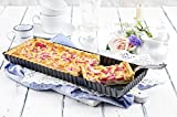 Paderno World Cuisine 13.75 by 4.325 Inch Rectangular Fluted Non-Stick Tart Mold with Removable Bottom