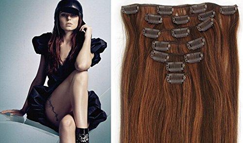 """Echthaar Haarverdichtung Clip in Remy Haar Extensions Erganzungsset 15""""/70g/7pcs/set #4/#30-dunkelbraun/Medium kastanien"""