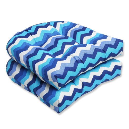 """Set of 2 Rayas Azules Blue, Navy & White Chevron Striped Outdoor Patio Wicker Chair Cushions 19"""""""