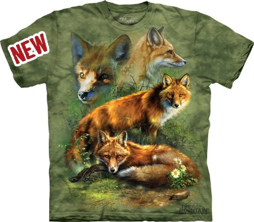 Animal T Shirt - Red Fox Collage Adult Size T-shirt , Green , Large
