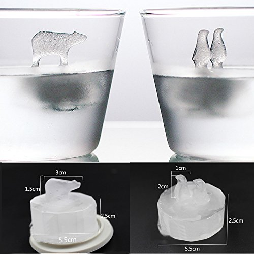 Maison Maxx Silicone Ice Cube Trays Molds, 3D floating Penguin and Polar Bear Shaped Ice Maker Molds for Whiskey Scotch Drinks Summer Beverage( 2pcs / Set) (Ice Ball Maker Mold Icy Cool compare prices)
