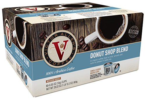 Victor Allen Coffee, Donut Shop Single Serve K-cup, 80 Count (Compatible with 2.0 Keurig Brewers) (K Cup Coffee 80 Count compare prices)