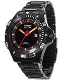 Detomaso Matera Tritium Solar Black/Orange Men's Quartz Watch with Multicolour Dial Analogue Display and Black Stainless Steel Bracelet DT2044-D