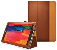 Ionic Stand Leather Case For Samsung Galaxy Tab Pro 8.4 TabPro 8.4 (Brown) by CrazyOnDigital