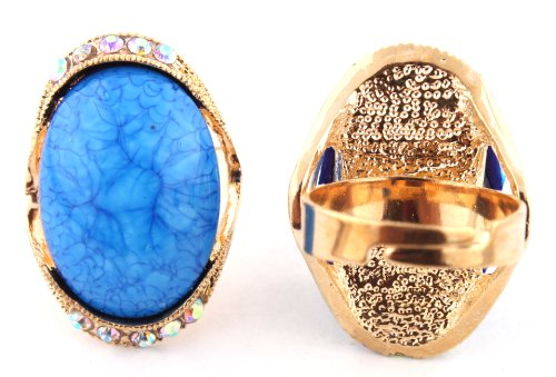 Ladies Gold with Blue Oval Abstract Pattern Center with Surrounding Clear AB Stones Metal Adjustable Finger Ring