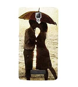 LOVE COUPLE ON A BEACH UNDER AN UMBRELLA 3D Hard Polycarbonate Designer Back Case Cover for Lenovo A2010