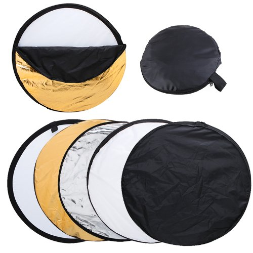 TOMTOP 24″ 60cm 5 in 1(Gold, Silver, White, Black and Translucent) Portable Photography Studio Multi Photo Disc Collapsible Light Reflector