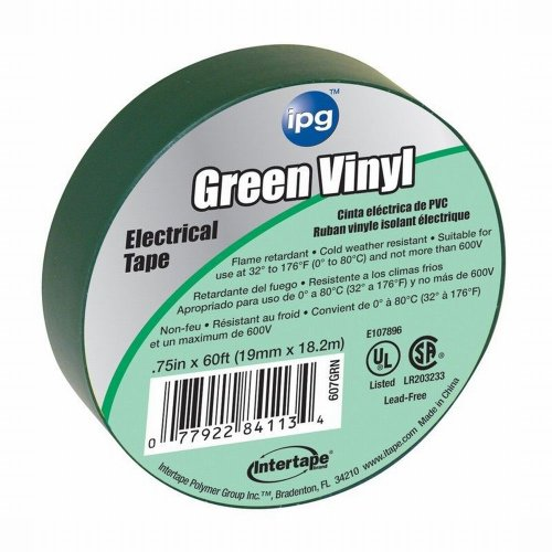 Intertape 85827 .75 In. X 60 Ft. Vinyl Electrical Tape, Green 100 Pack