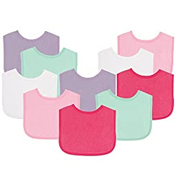 Luvable Friends Baby Bibs Value Pack, Pink/Purple, 6 x 7.5\