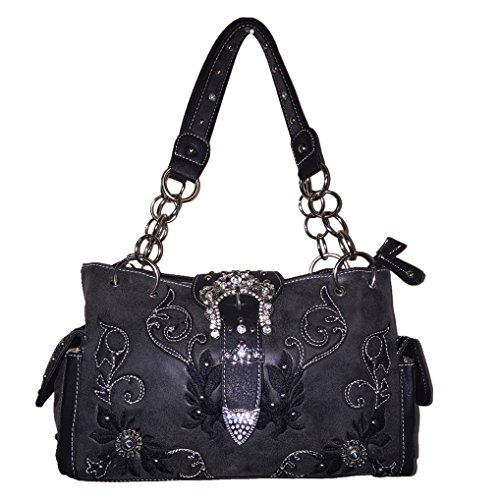2015 New Style Rhinestone Buckle Concho Concealed Carry Embroidered Leather Shoulder Handbag Purse and Available Optional Matching Messenger Bag, Wallet in Black Grey