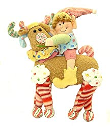 12&quot; Glittery Pastel Plush Candy Christmas Elf Riding Reindeer